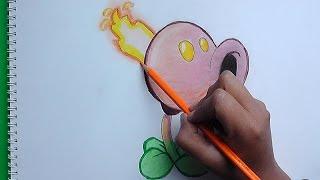 getlinkyoutube.com-Dibujando y pintado Quemaguisantes (Plantas vs Zombies) - Drawing and painting Quemaguisantes