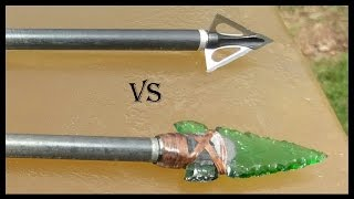 getlinkyoutube.com-Part 1: Glass Arrowhead vs. Modern Broadhead - Ballistics Gel Penetration Comparison