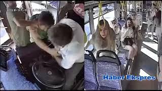 Otobüs hareket halindeyken şoföre saldırı