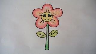 getlinkyoutube.com-ดอกไม้น่ารัก สอนวาดรูปการ์ตูนง่ายๆ สอนวาดรูปการ์ตูนระบายสี How To Draw A Cartoon Flower Step by Step