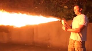 Hornets killed with homemade flamethrower!