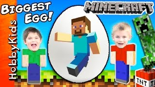 getlinkyoutube.com-World's Biggest MINECRAFT Surprise Eggs! Steve + Creeper Toys, Family Fun by HobbyKidsTV
