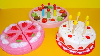 getlinkyoutube.com-Toy cutting velcro cakes birthday cake wooden plastic toys for kids toy strawberry cream cake asmr