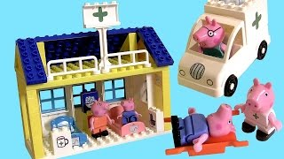 getlinkyoutube.com-Peppa Pig Blocks Mega Hospital Building Playset with Ambulance -  Juego de Bloques Construcciones