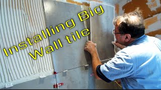 getlinkyoutube.com-Steam Shower Part 5 Installing the large format wall tile  with T-Lock™