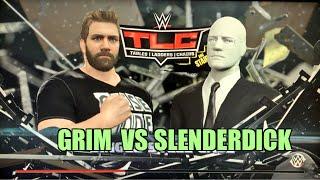 getlinkyoutube.com-GRIMS TOY SHOW vs SLENDER MAN WWE 2K16 TLC PPV Steel Cage Match PS4 Gameplay