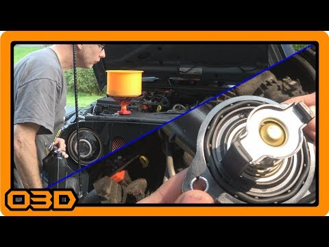 Thermostat Housing Replace and Bleeding Air from Cooling System - 2015 Jeep Wrangler JK 3.6L