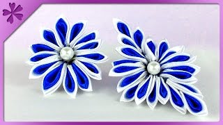DIY Kanzashi flower (ENG Subtitles) - Speed up #122