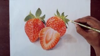 getlinkyoutube.com-Drawing strawberry - Prismacolor Pencils
