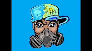 getlinkyoutube.com-Drawing a Gas mask Character with SprayCans by CHOLOWIZ