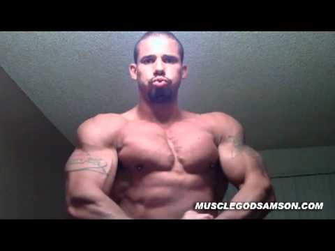 Muscle God Samson Flexing His Huge Biceps Flex Bodybuilder