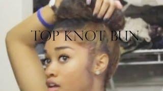 getlinkyoutube.com-Top Knot Bun for Curly Hair Tutorial