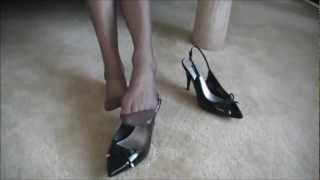 getlinkyoutube.com-JULIE DANGLES  SLINGBACK POINTED TOE PUMPS & WIGGLES HER TOES