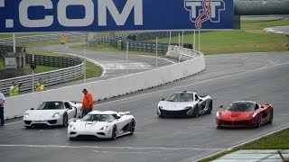 getlinkyoutube.com-Koenigsegg Agera vs. Ferrari LaFerrari vs. Porsche 918 vs. Mclaren P1 on Track