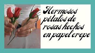getlinkyoutube.com-Botón de rosas de papel crepe