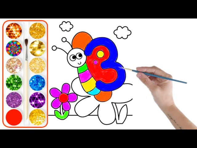 Download Thumbnail For Glitter Butterfly Drawing By Using Numbers