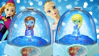 getlinkyoutube.com-FROZEN ELSA ANNA GLOWING LIGHT GLITTER GLOBES Gel Paint Plastic Figurines Disney Toys