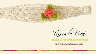 getlinkyoutube.com-Vincha o diadema con flor tejida en dos agujas