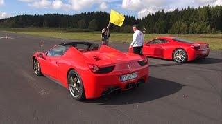 getlinkyoutube.com-Ferrari 458 Italia vs Audi R8 V10 vs Ferrari 458 Spider!