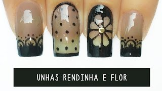 getlinkyoutube.com-Unhas Decoradas rendinha e flor  Negative Space - black sheer