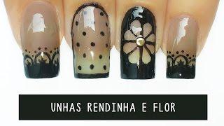 getlinkyoutube.com-Unhas Decoradas rendinha e flor  Negative Space - black sheer