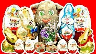 getlinkyoutube.com-Kinder Surprise Eggs Maxi Egg Easter Bunny Chocolate Talking Tom Cat Smashing Unwrapping