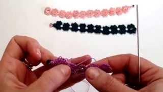 getlinkyoutube.com-Lezione 6 braccialetto a chiacchierino FACILE, + tecniche X inamidare e indurire. ROSAANTICO