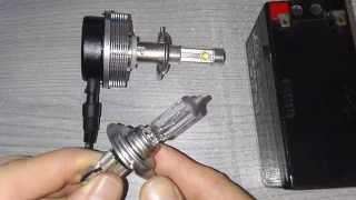 getlinkyoutube.com-LED bulb Cree XM-L2  H7 20W 2400LM test vs halogen