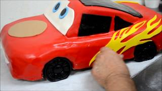 getlinkyoutube.com-Lightning McQueen Car Shape Cake Recipe