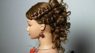 getlinkyoutube.com-Knotted hairstyle for medium long hair with curls