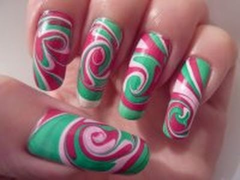 Christmas Xmas Inspired Swirl Spiral Water Marble Nail Art Design Tutorial On Long Nails HD Video