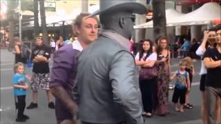 Silver Cowboy Street performer beats a pesky Heckler in Queensland
