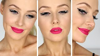 Rockstar Eyeliner w/ CRYSTAL STUDS! + Hot Pink Lips Tutorial | Lauren Curtis