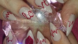 getlinkyoutube.com-Acrylic New Set Valentines Heart Beat Nail Design