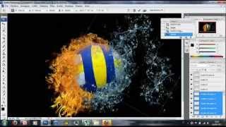 getlinkyoutube.com-Photoshop CS3 - Volleyball Ball in Water & Fire