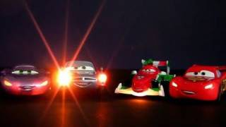 getlinkyoutube.com-4 Cars Lights and Sounds 4-pack Diecast Disney Pixar Talking Toys review by Blucollection