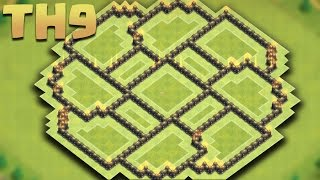 getlinkyoutube.com-CLASH OF CLANS - Town hall 9 (TH9) New Farming Base (The Circle) + Replays  2016