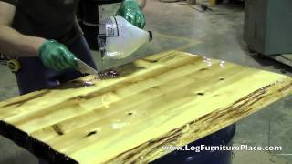 getlinkyoutube.com-How Liquid Glass Finish is applied on Cabin Furniture at JHE's Log Furniture Place