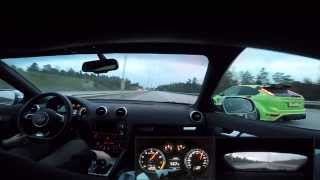 getlinkyoutube.com-Audi RS3 vs Ford Focus RS HMS Tune 370hp/600nm - 260km/h+