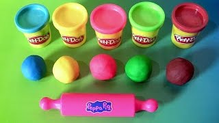 getlinkyoutube.com-Learn Colors Peppa Pig Play-Doh Egg Surprise with Dough Stampers Spiderman by Funtoyscollector