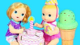 getlinkyoutube.com-BABY ALIVE Dolls Birthday Party Cake Melissa & Doug Ice Cream Cones Babies Alive Videos