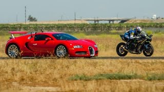 getlinkyoutube.com-Kawasaki Ninja H2r vs Bugatti Veyron Drag Race 2016   Lamborghini Aventador vs F16 Fighting Falcon