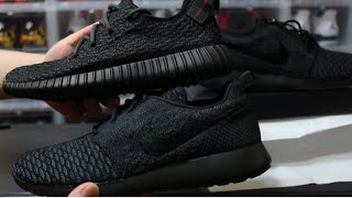 getlinkyoutube.com-HOW TO MAKE ROSHE PIRATE BLACK 350 YEEZY BOOST NIKEID