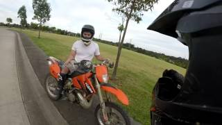 Angry Cemetery Care Taker and Wife Chase Bikers!
