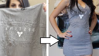 getlinkyoutube.com-☆ DIY: EASY TSHIRT DRESS TUTORIAL NO SEW ☆