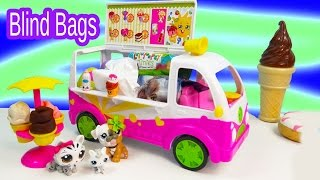 getlinkyoutube.com-Shopkins Season 3 Scoops Ice Cream Truck Filled with Surprise Blind Bag Toys Unboxing Fun  Video