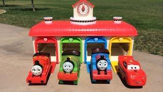 getlinkyoutube.com-Thomas n Friends Disney Cars McQueen Egg Surprises Percy James Toby