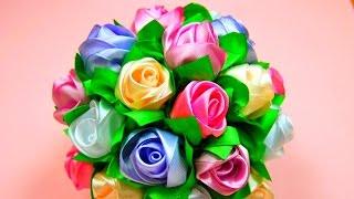 getlinkyoutube.com-Мастер-класс: Бутоны Роз в Букет-Шар. / Ribbon Rose, Bouquet-Ball / ✿ NataliDoma