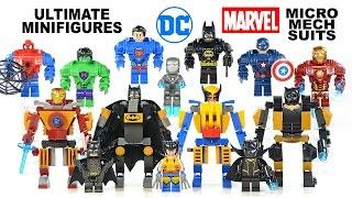 getlinkyoutube.com-Ultimate Batman Iron Man Superman Hulk Spider-Man Cap & Micro Mech Suits UnOfficial LEGO Set