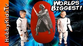 GIANT SURPRISE EGG Star Wars ADVENTURE Toy Hunt! Kylo Ren Battles Yoda HobbyKidsTV